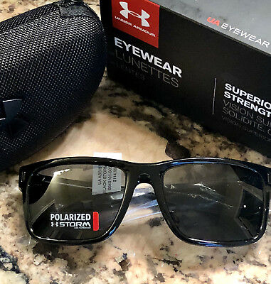 e80772c8b5d NEW Under Armour Assist Storm Shiny Black Gray Polarized Sports Sunglasses   115