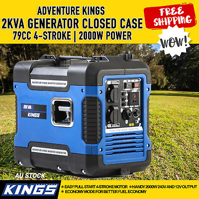 Quiet Reliable Generator 2KVA Adventure Kings Outdoor Camping Outback