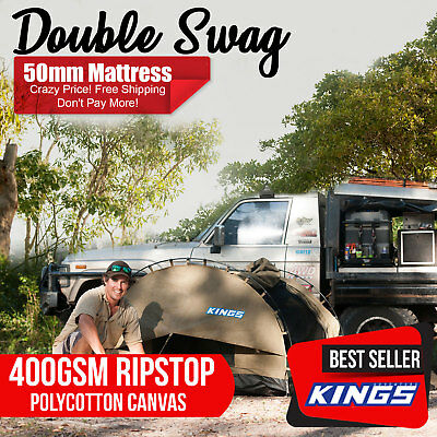 Double Swag Big Daddy 50mm Mattress Free Standing Aluminium poles Kings Biker