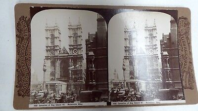 Antique George Rose Stereo Card Photograph Coronation Of King Edward Westminster