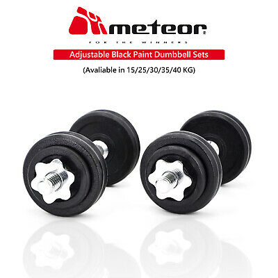 METEOR Adjustable Black Dumbbell Barbell Weight Set Home Exercise Fitness Gym