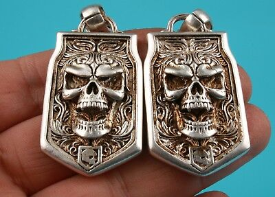 2 Ancient Chinese Tibet Silver Pendant Skull Exorcist Mascot Decoration Gift