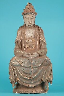 Big Chinese Old Wood Hand Carved Buddha Sakyamuni Statue Collectable Ornament