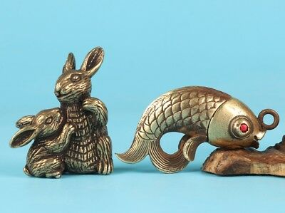 2 Unique Bronze Statue Rabbit Mother Baby Fish Pendant Mascot Collection Gift