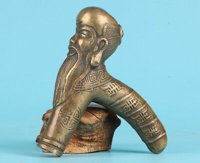 Unique Chinese Bronze Statue Scholar Cane Walking Stick Head Handle Accessorie