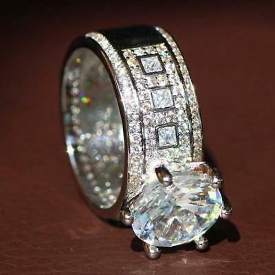 Women Silver Filled White Sapphire Engagement Wedding Ring Size 6-10 NEW