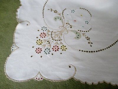 """ANTIQUE MADEIRA TABLECLOTH-HAND EMBROIDERED PASTELS-50""""sq."""