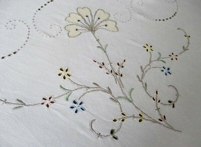"""ANTIQUE MADEIRA TABLECLOTH-HAND EMBROIDERED PASTELS-52""""sq."""