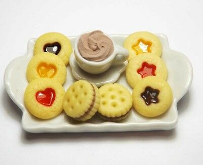 8 Mixed Dollhouse Miniature Food & Coffee Cup on Ceramic Tray*Doll Mini Cookies