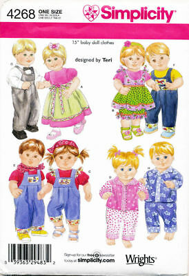 """Simplicity Sewing Pattern 4268 15"""" (38Cm) Baby Girl / Boy Twin Doll Clothes"""