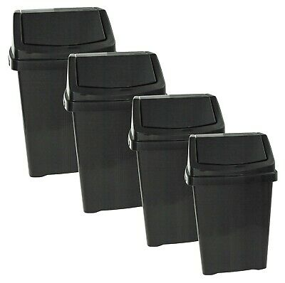 Wham High Grade Plastic Black Flip Top Waste Rubbish Bin