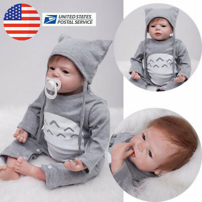 US 22in Simulation Nicery Lifelike Reborn Baby Doll Soft Silicone Girl Toy Gift