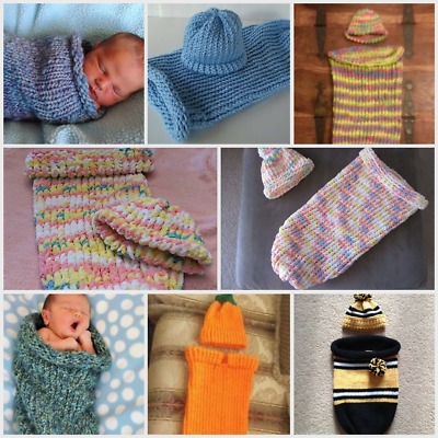 Crochet/knit Baby Cocoon & Hat Set (Nwt) Choose Your Colors!
