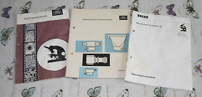 Three Zeiss Microscope Booklets Photomicroscope / Photometer & Photo Attachments