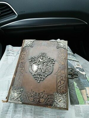Antique Hand Tooled Leather Photo Album