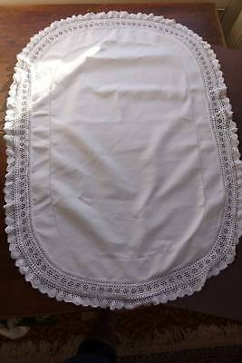 Antique large white Irish linen table topper - hand worked tricot lace edge