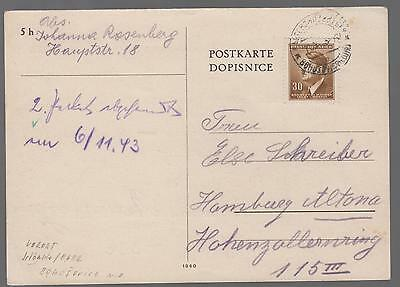1943 Germany Theresienstadt Concentration Camp Postcard Cover Johanna Rosenburg