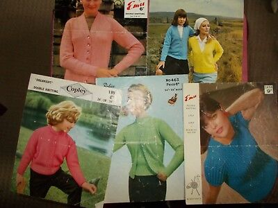 5  Vintage  Knitting Patterns -  Sweaters, Jackets, Tops