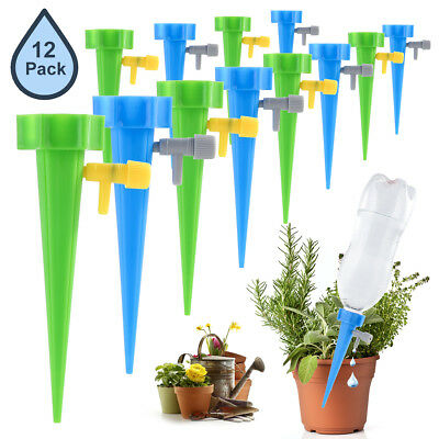 12pcs Garden Plant Self Watering Spikes Stakes Waterer Device with Control Valve