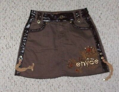 Enyce Brown Skirt w/ Brown Pleather Trim, Size 8, VGUC