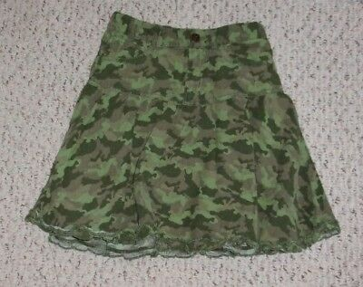 The Children's Place Green & Brown Corduroy Camouflage Skirt, Size 6X 7, VGUC