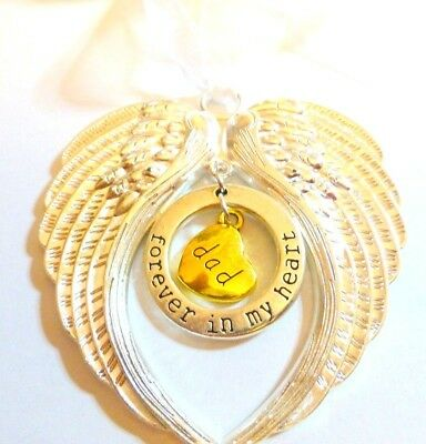 Silver Remembrance Double Arms Wings Dad Forever in My Heart Hanging Charm Gift