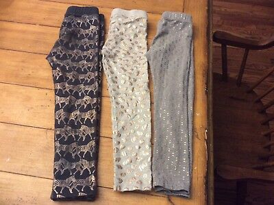 Lot 3 Crewcuts J Crew girl gold foil Leggings Size 5 Zebra Leopard Aztec