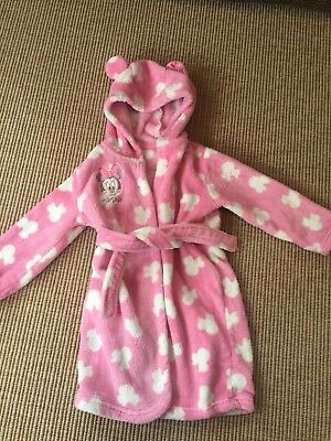 Girls Disney Minnie Mouse Dressing Gown - Pink Fleece - Age 18-24m