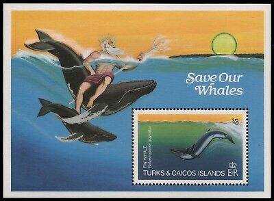Turks- & Caicos 1983 - Mi-Nr. Block 44 ** - MNH - Wale / Whales