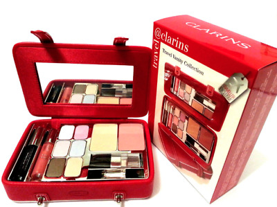 Clarins Travel Vanity Collection Make- Up Gift  Set  Damaged Red Case * Boxed *