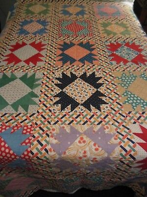 Vintage 1930's 1940's Wonderful Bright Hand Pieced & Quilted Unused Full Quilt