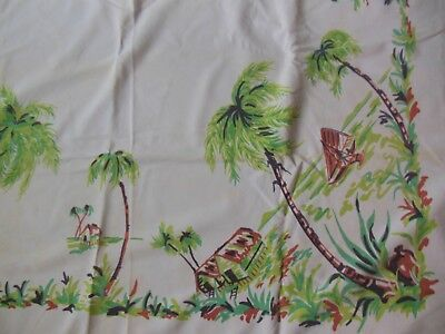 Vintage Pale Pink Tropical Palm Tree Tablecloth 52 by 44