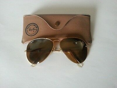 Ray Ban Usa B&l Aviator 62[]14 Vintage  Sunglasses W/ Case