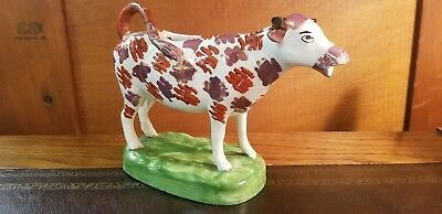 Antique 19th Century English Staffordshire Porcelain Pearl Luster Cow Creamer