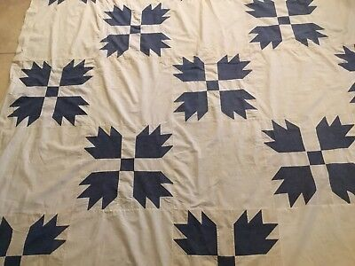 Vintage Patchwork Quilt Top, Bears Paw, Blue, White, Cotton, Hand Made
