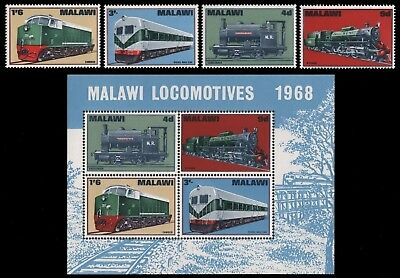 Malawi 1968 - Mi-Nr. 84-87 & Block 11 ** - MNH - Lokomotiven / Locomotives