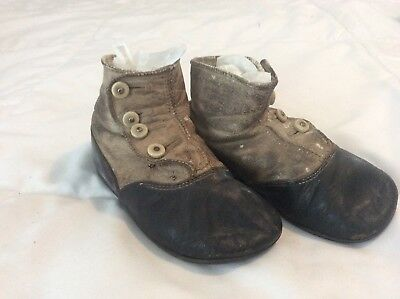 Antique Victorian Baby/Child Leather Button-up High Top Shoes Two Tone