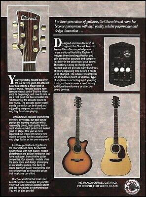 The 1993 Jackson Charvel Series acoustic preamplifier guitar 8 x 11 ad print