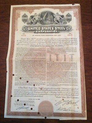United States Steel Corp $1000 Dated 1958 Invalid Certificate