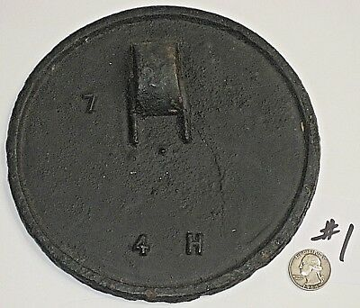 """Antique Cast Iron Wood 7"""" Lid 4H Cooking Stove Top Warming Plate Burner Cover A"""