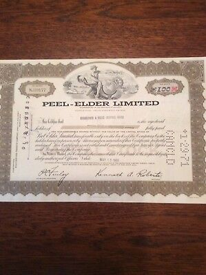 Peel-Elder Limited Dated 1969 100 Shares Invalid  SHARE CERTIFICATE