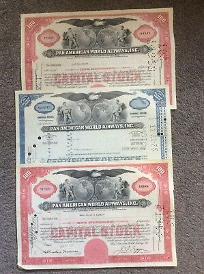 3 Pan American World Airways 2 Red 1 Blue Invalid Share Certificates