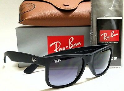 Authentic RAY-BAN JUSTIN RB4165 601/8G Rubber Black/Grey Gradient Lens 51mm
