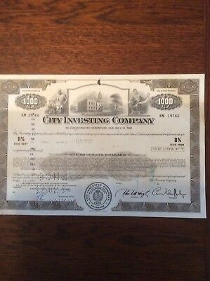 City Investing Co. 8% 1991 Dated 1974 $1000 Shares INVALID SHARE CERTIFICATE
