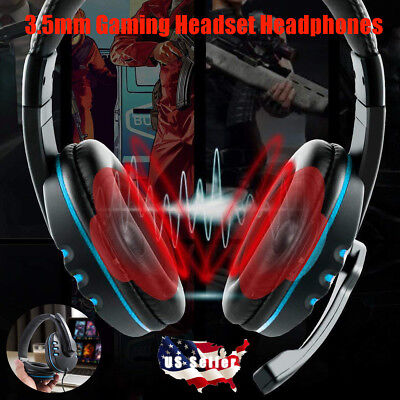 3.5mm Gaming Headset Stereo Surround Headphones With Mic For PS3 PS4 Xbox USA