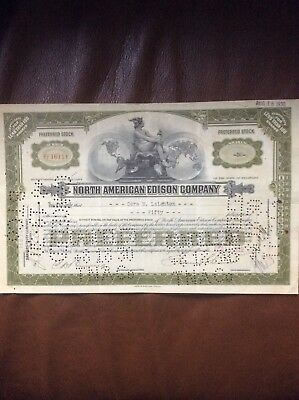 North American Edison Co. Dated 1929 50 Shares Invalid Share Certificate