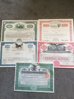 5 X U S Share Certificates Nice Lot Of Share Certs Invalid SHARE CERTIFICATE