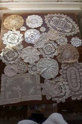 Collection of 20 vintage lace doilies and mats in cream & white
