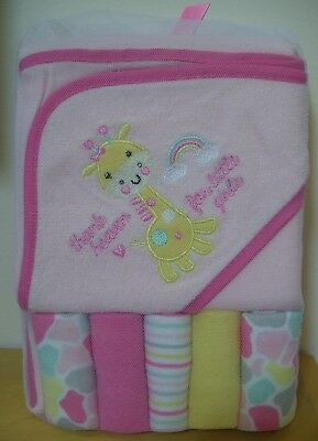 Baby Gear 6 Pc Hooded Towel & Washcloths Thank Heaven for Little Girls Gift Set