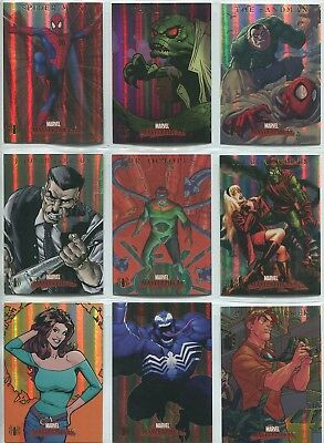 Marvel Masterpieces 2007 Complete 9 Card Chase Set Spiderman Fleer Foil Parallel